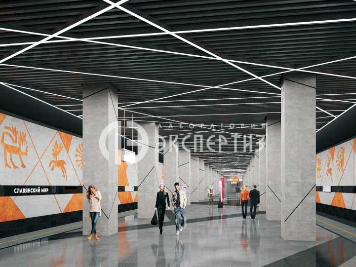 Вид платформы станции метро Славянский мир