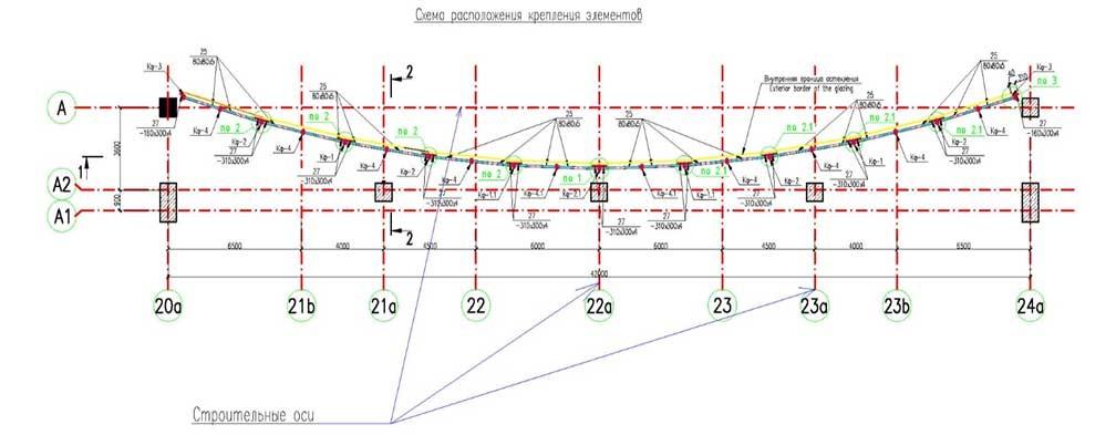 Пример изображения строительных осей на исходных чертежах