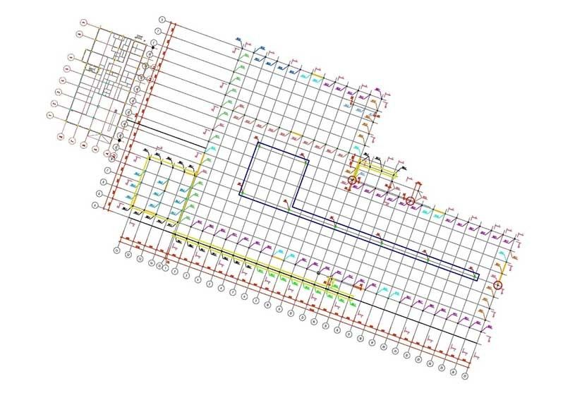 Пример расположения строительных осей на производственном сооружении